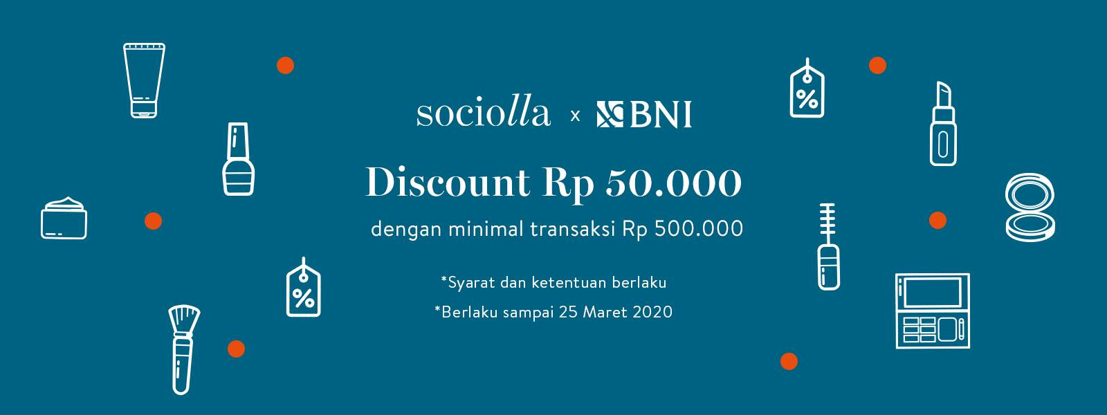 Sociolla Promo Voucher Diskon Rp. 50.000 Dengan Kartu Kredit BNI