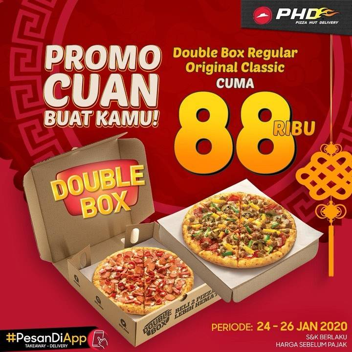 Pizza Hut Delivery Promo Spesial Imlek, Double Box Hanya Rp. 88.000