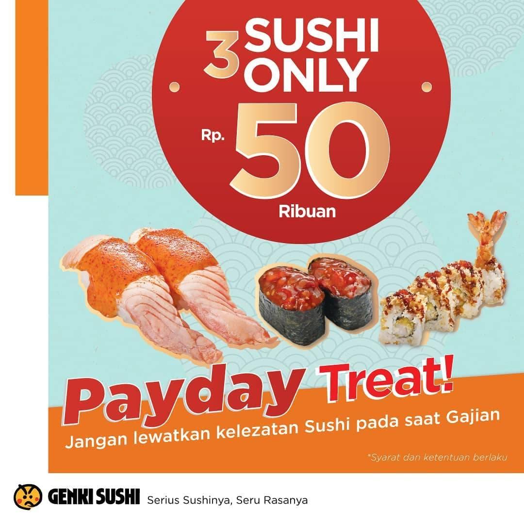Genki Sushi Promo Payday, Beli Paket 3 Sushi Mulai Rp. 55ribuan