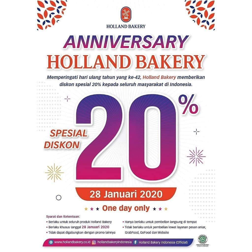 Holland Bakery Promo Hut Ke 42, Dapatkan Diskon 20%