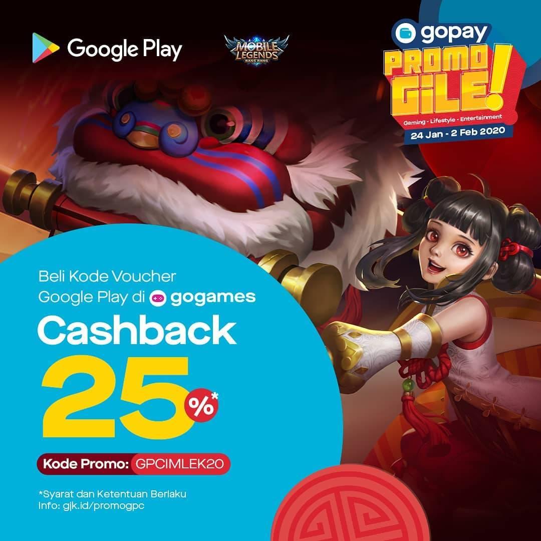 Gopay Promo Beli Kode Voucher Google Play Di Go Games Dapatkan Cashback 25%