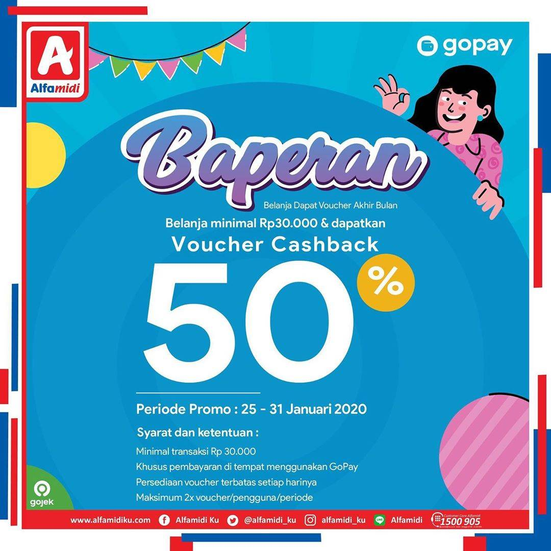 Alfamidi Promo Gopay Baperan, Dapatkan Voucher Cashback 50% Mengunakan Gopay