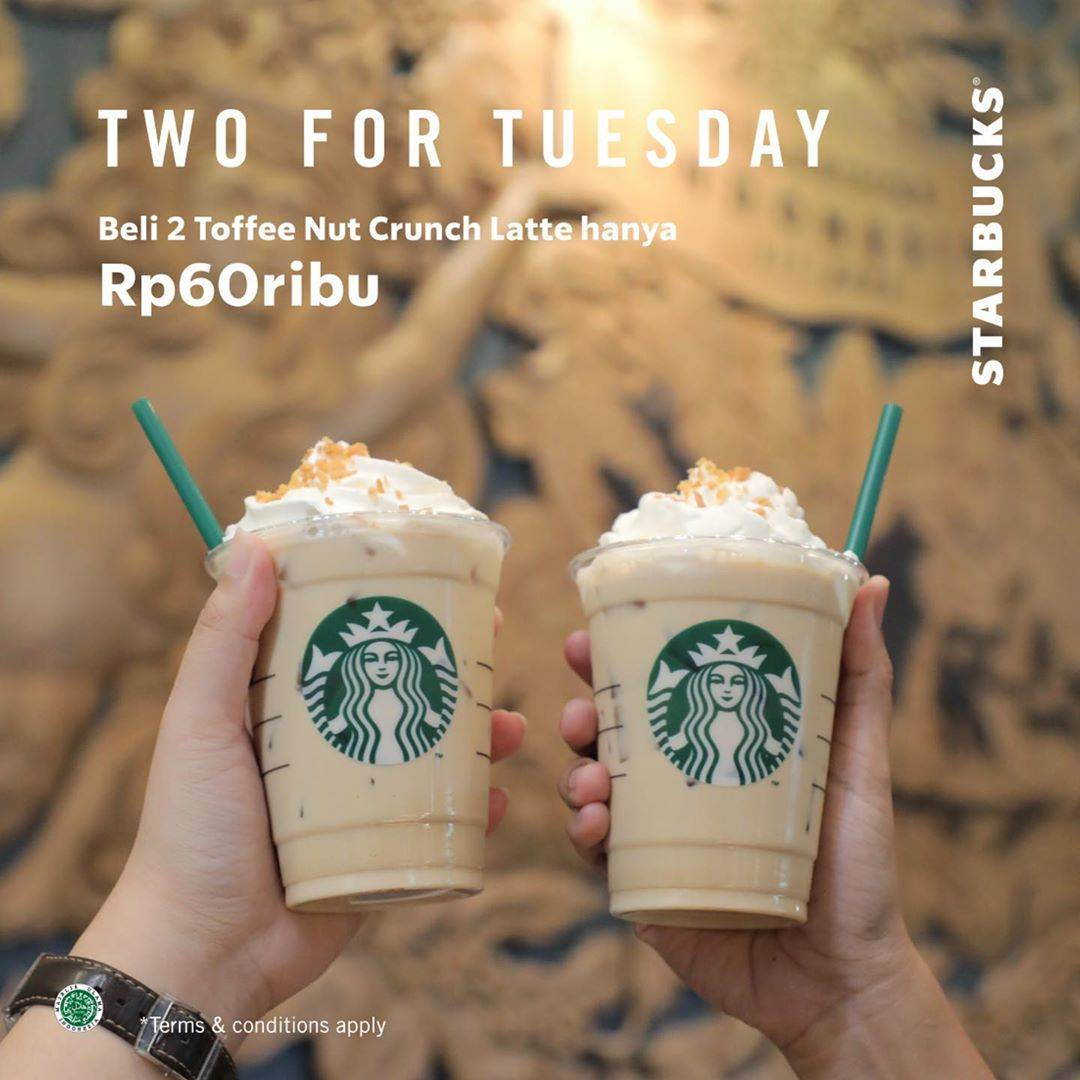 Starbucks Promo Two For Tuesday, Beli 2 Toffe Nut Crunch Latte Hanya Rp. 60ribu Dengan Kupon Di Line
