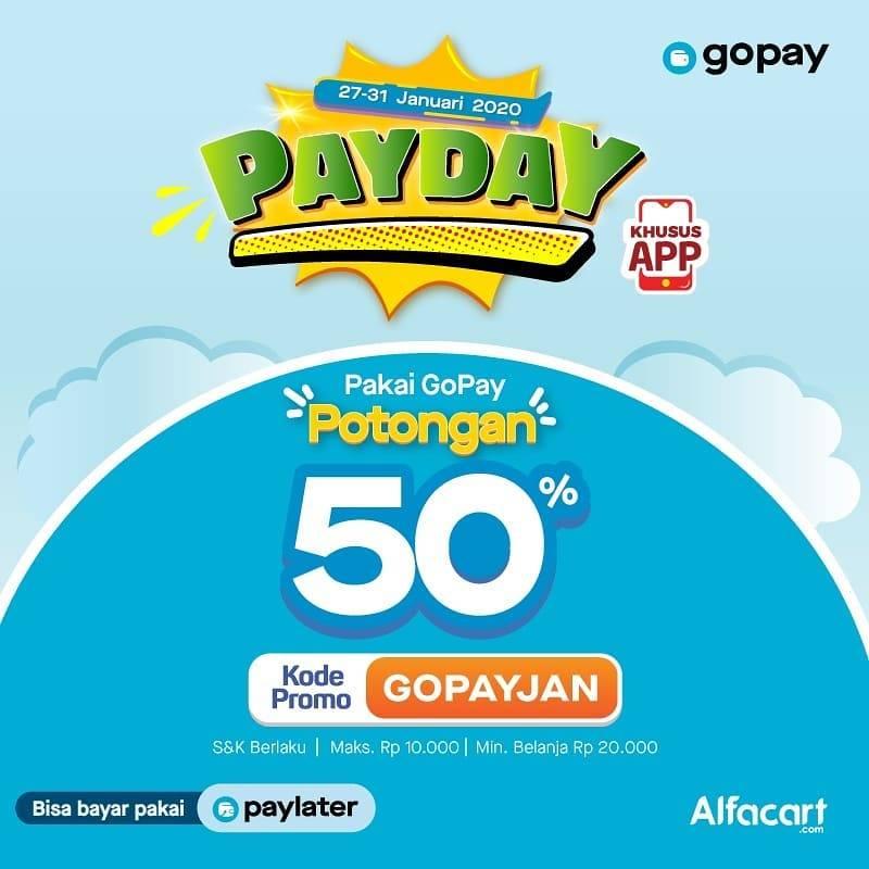 Alfacart Promo Payday, Dapatkan Potongan 50% Pembayaran Melalui Gopay