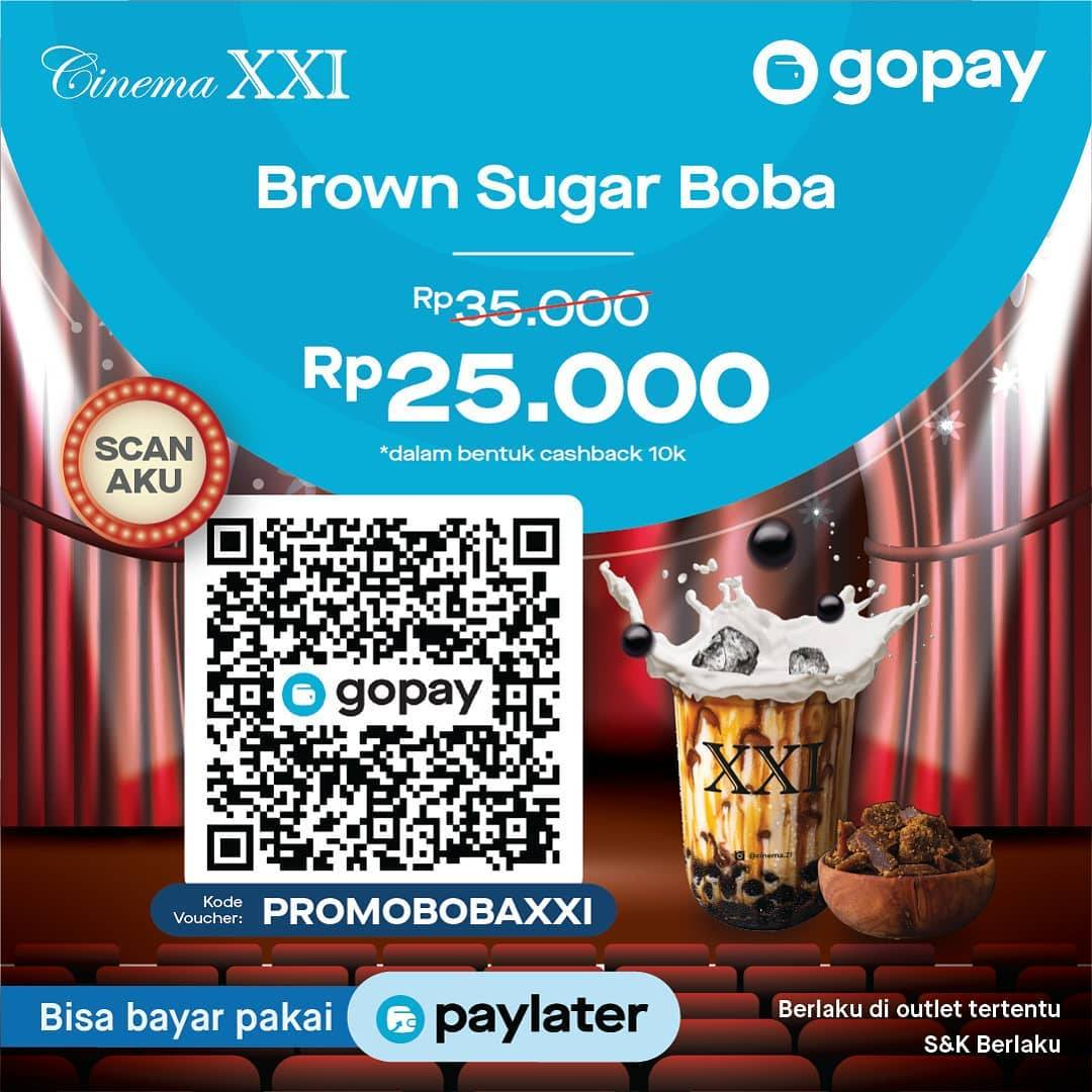 Cinema XXI Promo Brown Sugar Boba Cuma Rp. 25.000 Menggunakan GoPay
