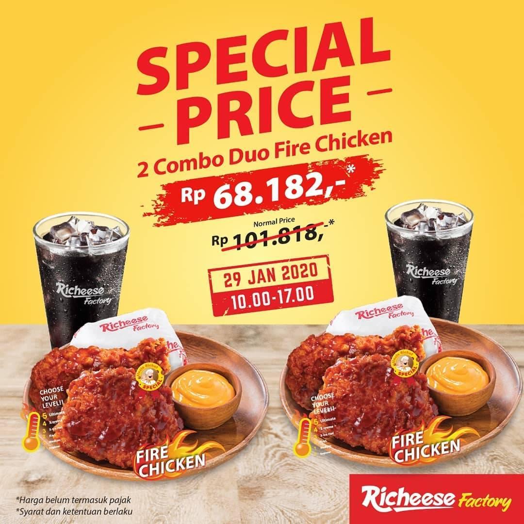 Richeese Factory Promo Menu 2 Combo Duo Fire Chicken Hanya Rp. 68.182