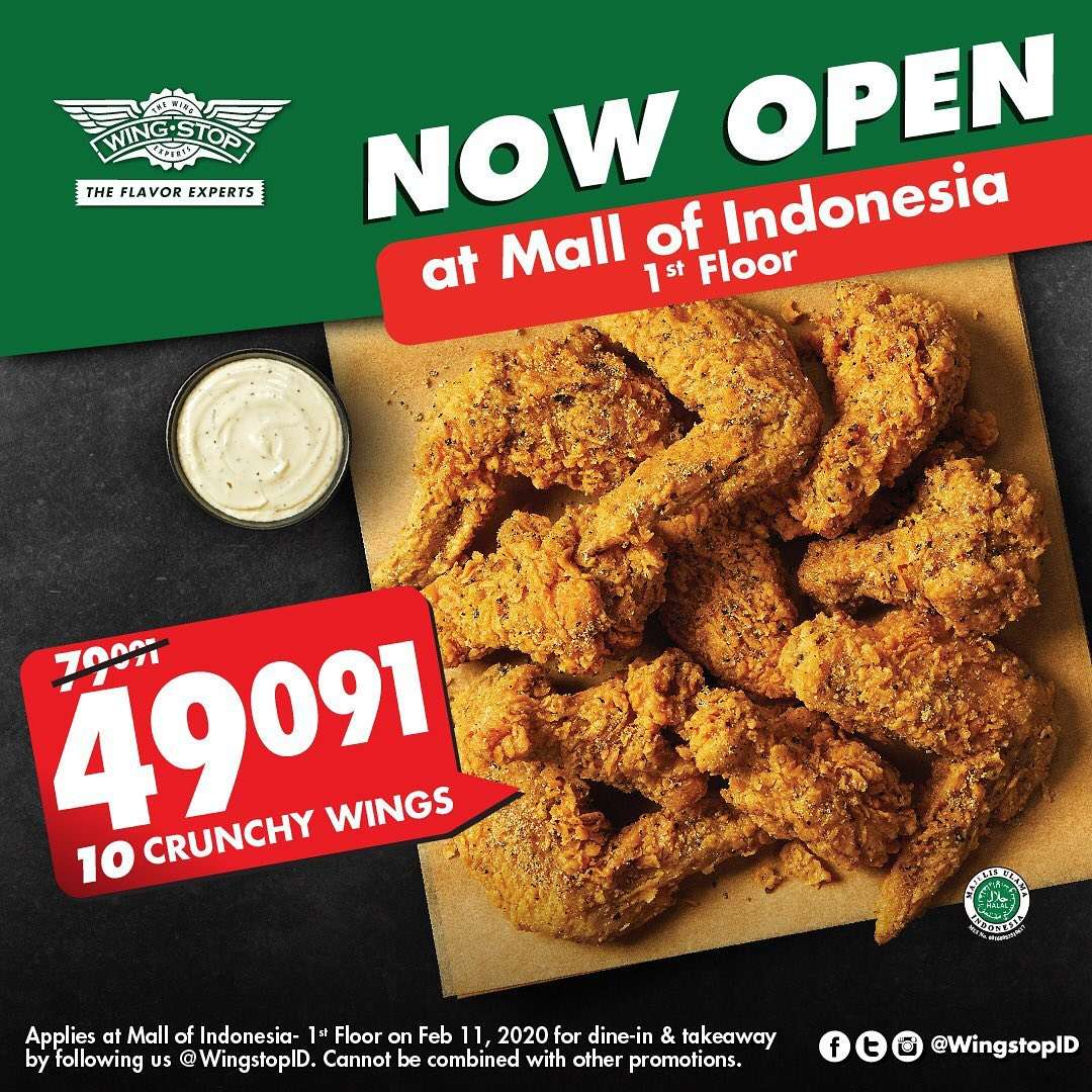Wingstop Promo 10 Crunchy Wings Only Rp 49.091
