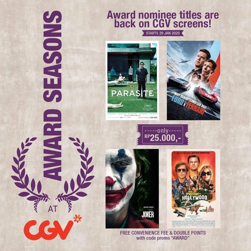 CGV Promo Harga Tiket Spesial Mulai Dari Rp. 25.000 Untuk Film Award Seasons At CGV
