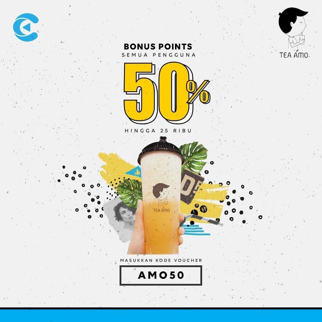 Tea Amo Promo Bonus Poin 50% Menggunakan Cashbac