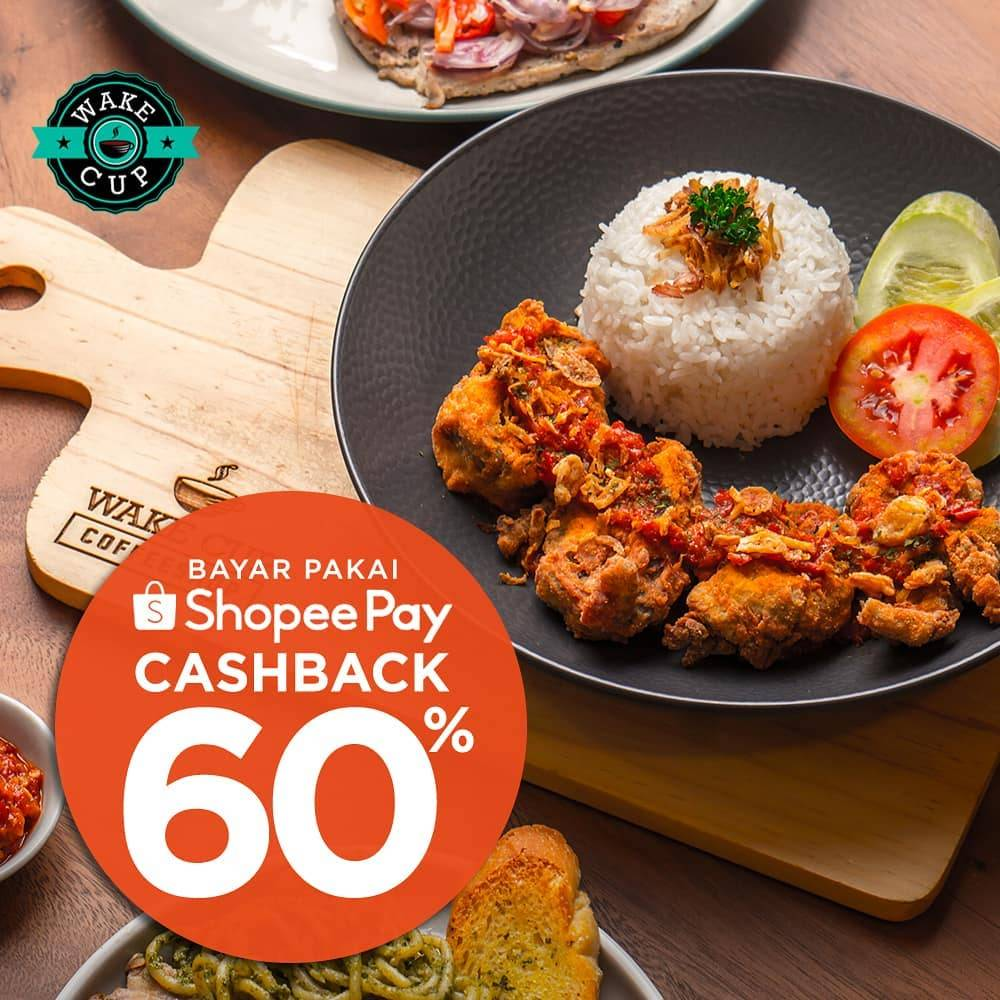 Wake Cup Coffee & Eatery Promo Cashback 60% Menggunakan Shopee Pay