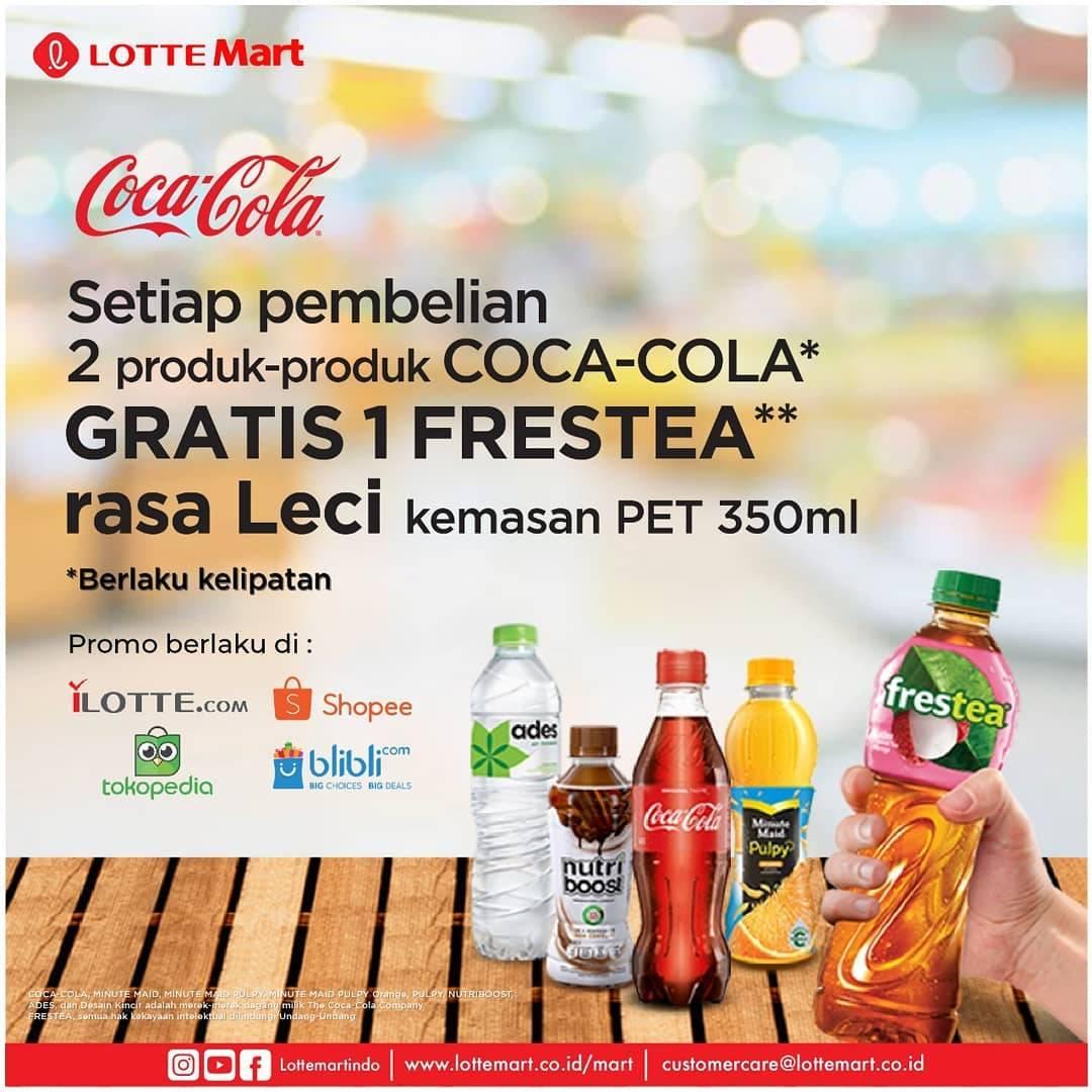LotteMart Promo Beli 2 Produk Coca Cola Gratis 1 Frestea
