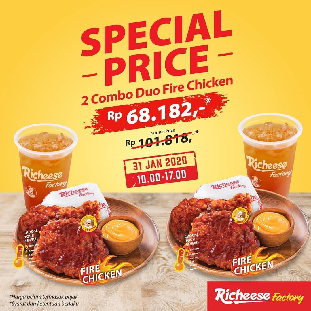 Richeese Factory Promo 2 Combo Duo Fire Chicken Hanya Rp. 68.182