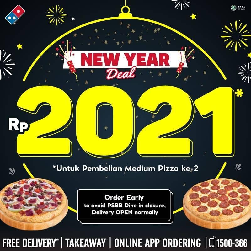 Diskon Domino's Pizza New Year Deal 2021 - Pizza Kedua Hanya Rp. 2021
