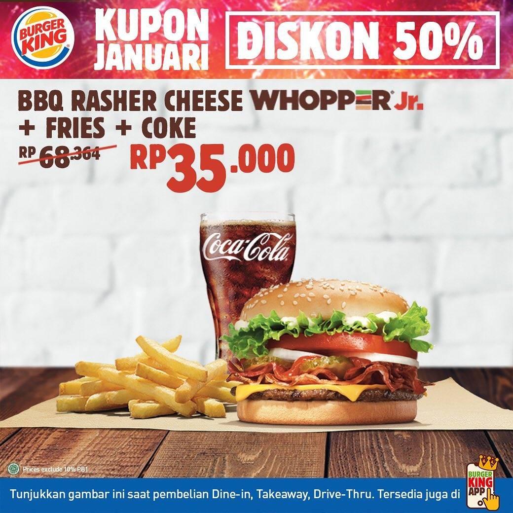 Promo diskon Burger King Kupon Januari Diskon 50% Untuk Menu Pilihan