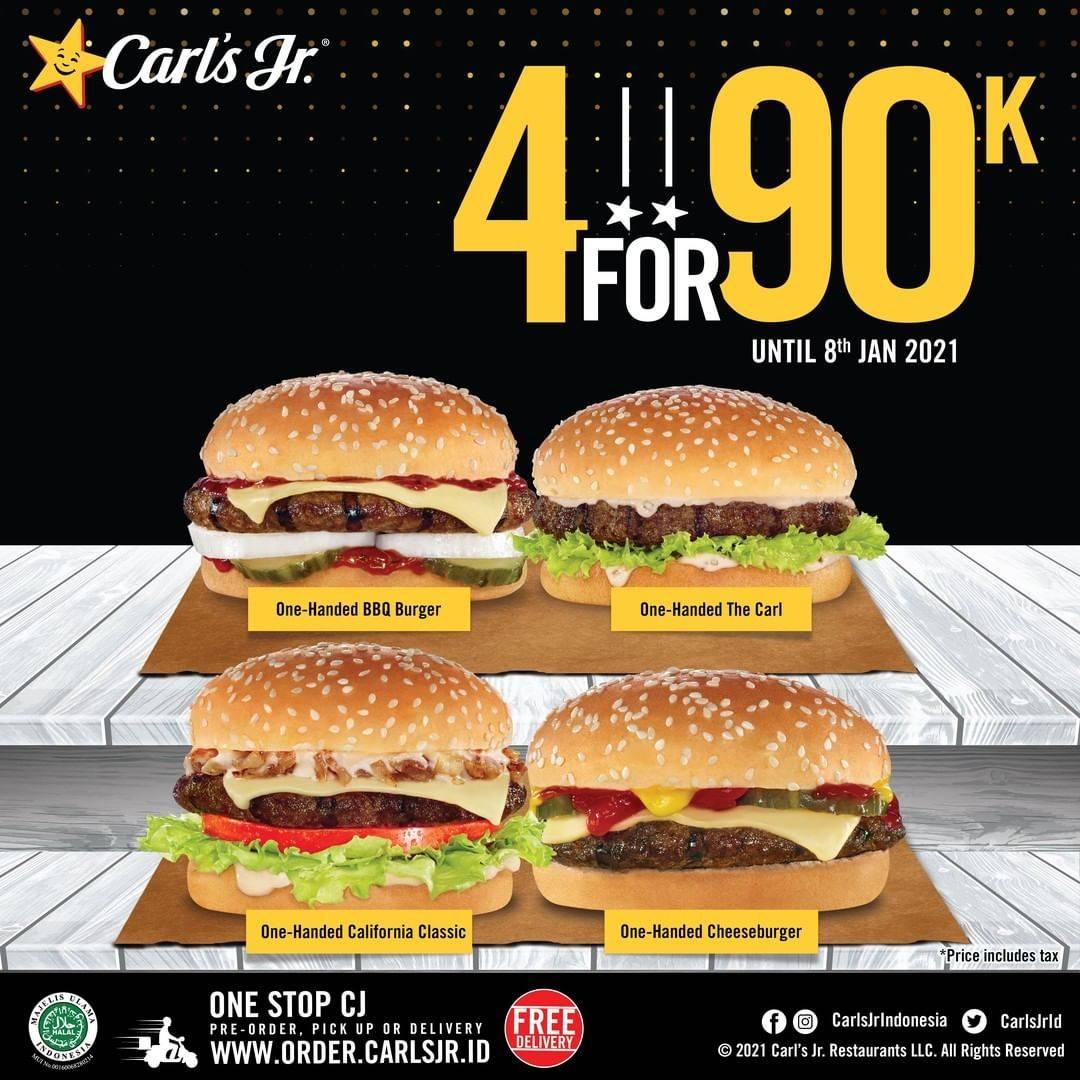 Diskon Carls Jr 4 Burger Only For IDR. 90.000