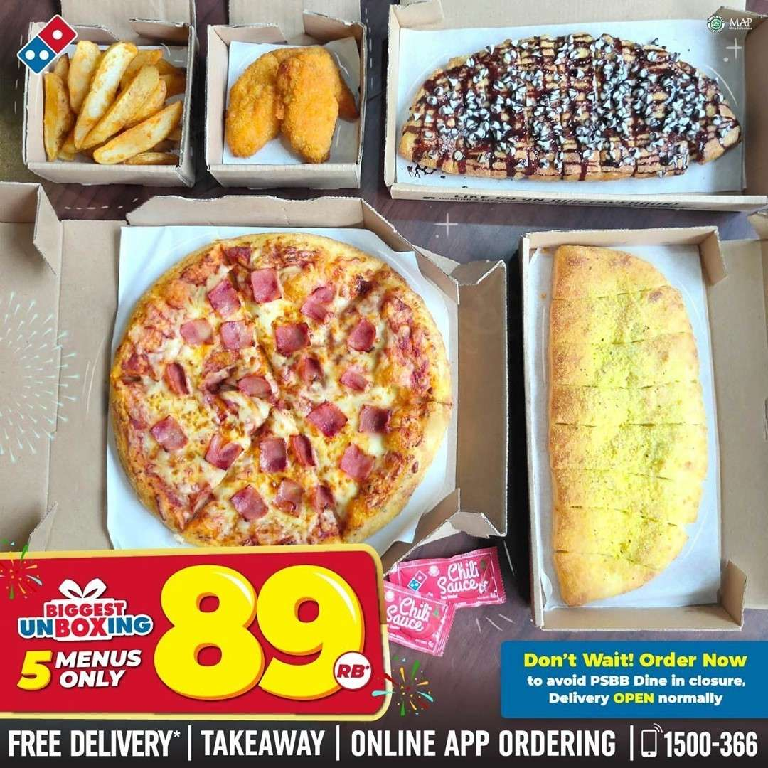 Diskon Domino's Pizza Promo Biggest Unboxing 5 Menu Only For Rp. 89.000