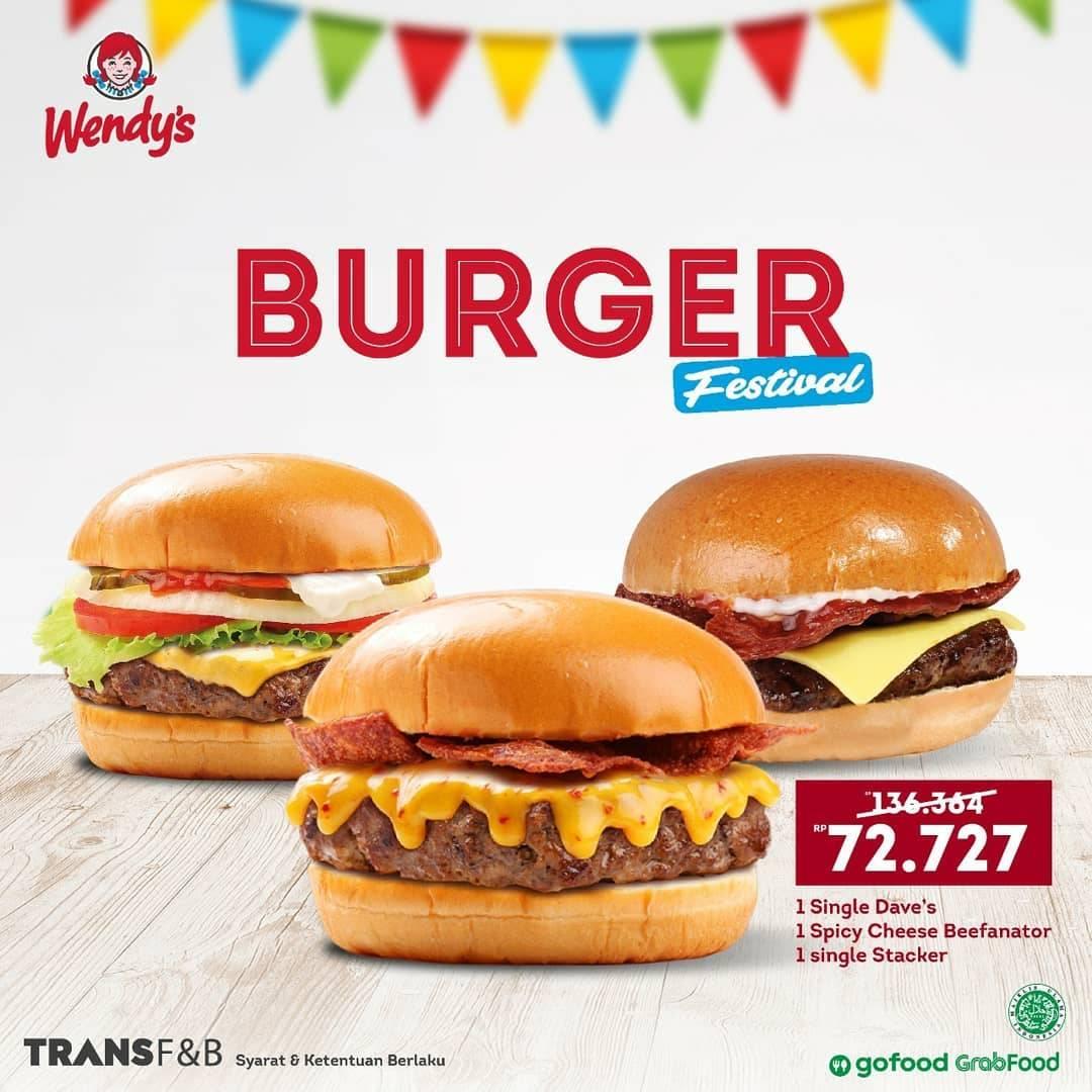 Diskon Wendys Promo Burger Festival - Harga Mulai Dari Rp. 68.182