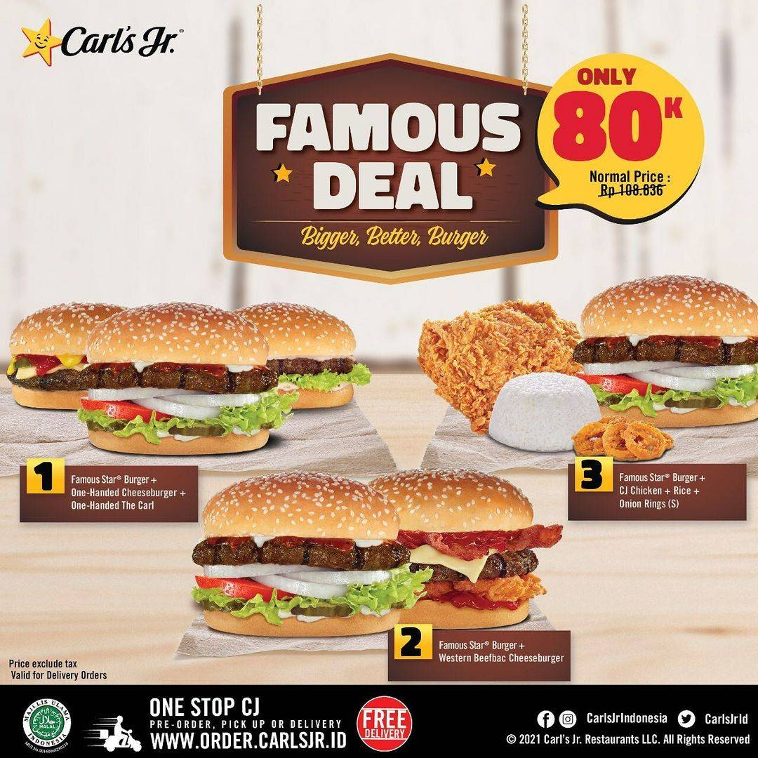 Diskon Carls Jr Promo Famous Deal Special Package Only For Rp. 80.000