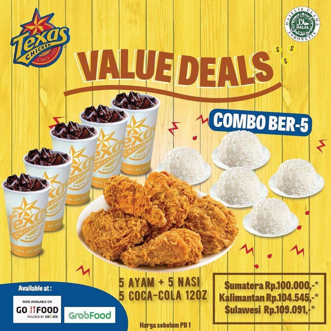 Promo diskon Texas Chicken Promo Value Deals Paket Combo Bertiga & Berlima