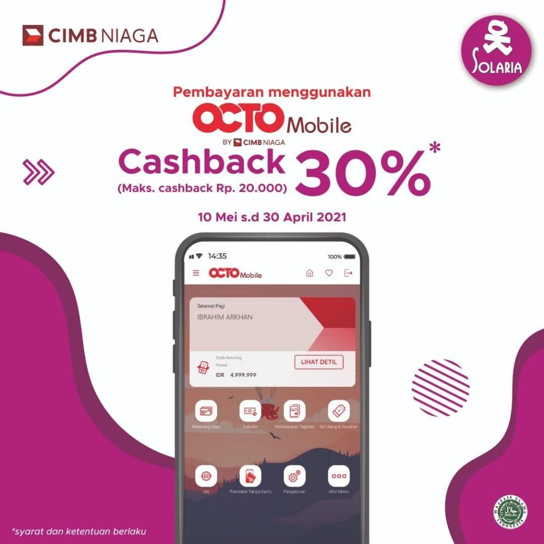 Diskon Solaria Cashback 30% Menggunakan Octo Mobile