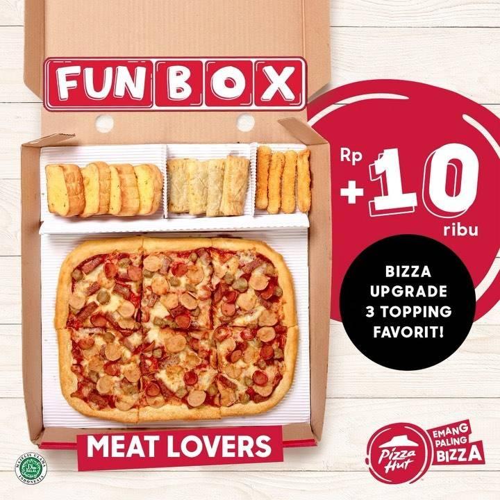 Diskon Pizza Hut Promo Fun Box + Rp. 10.000 Bisa Upgrade 3 Topping Favorit