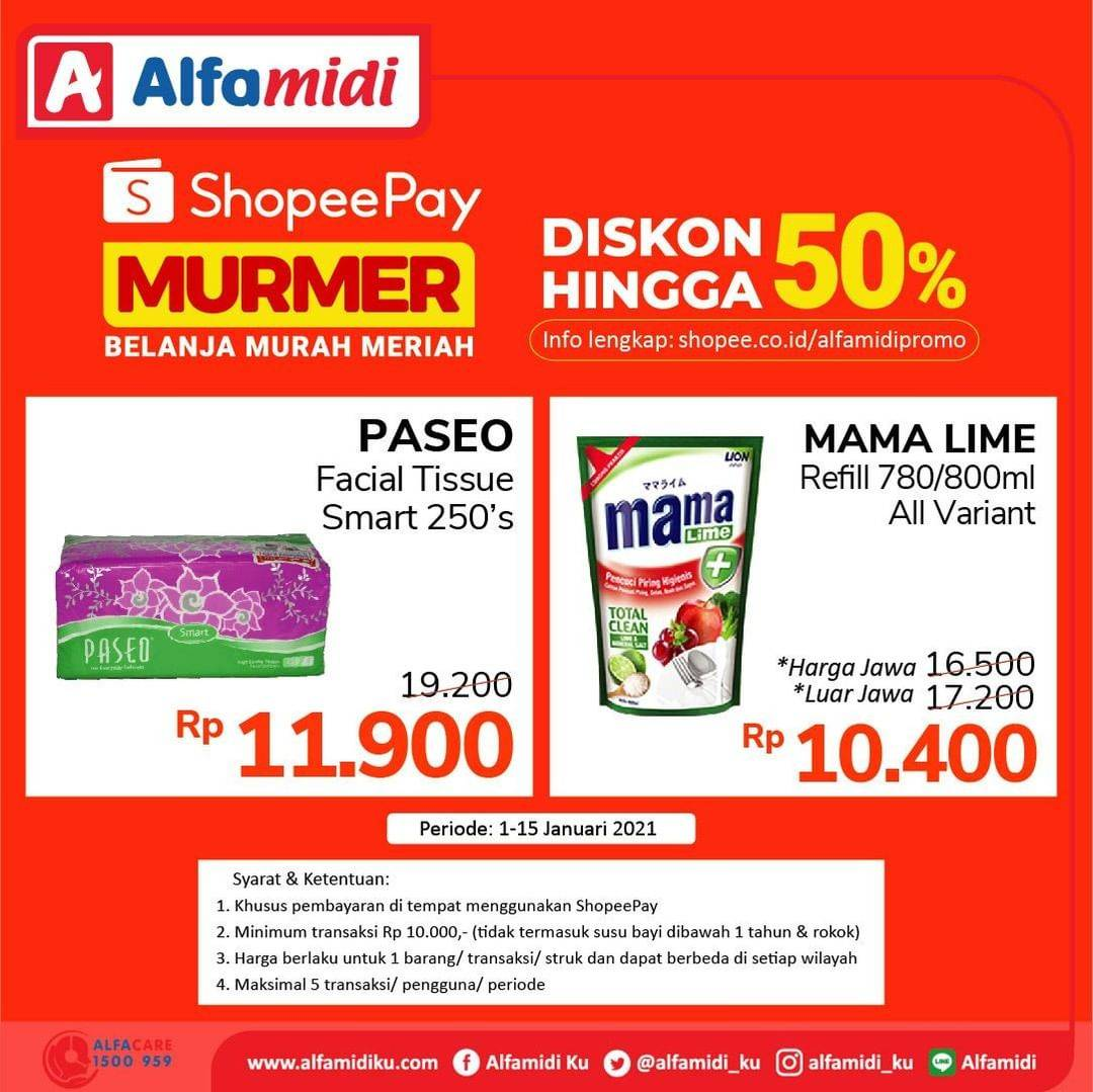 Promo diskon Katalog Promo Alfamidi Shopeepay Murmer 50% Periode 1 - 15 Januari 2021