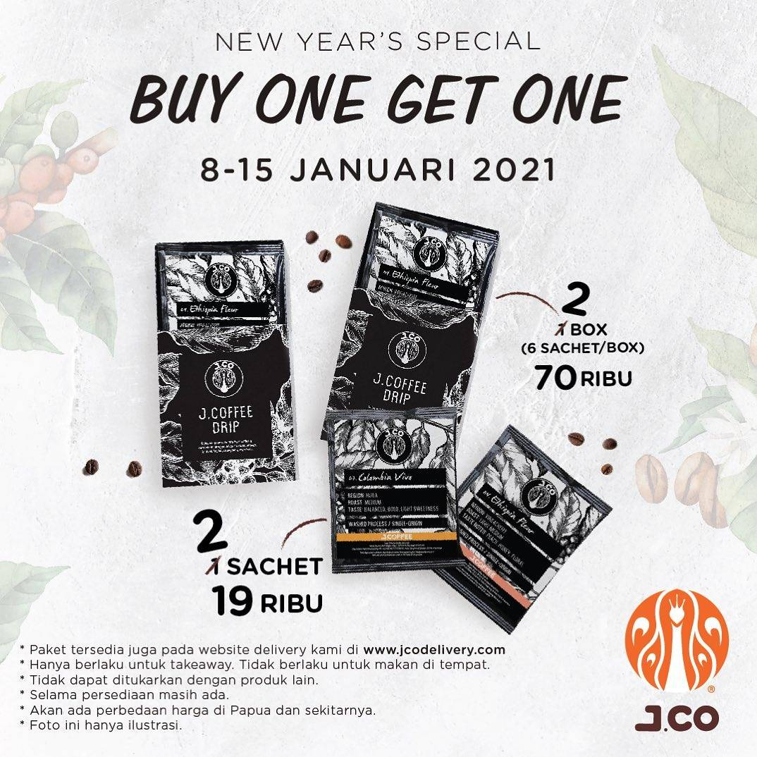 Diskon JCO New Years Special Buy 1 Get 1 Free JCoffee Drip
