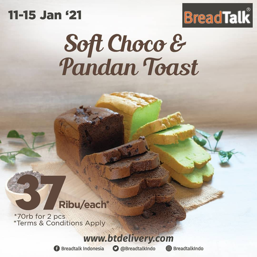 Diskon Breadtalk Promo Soft Choco & Pandan Toast Only For Rp. 37.000/each