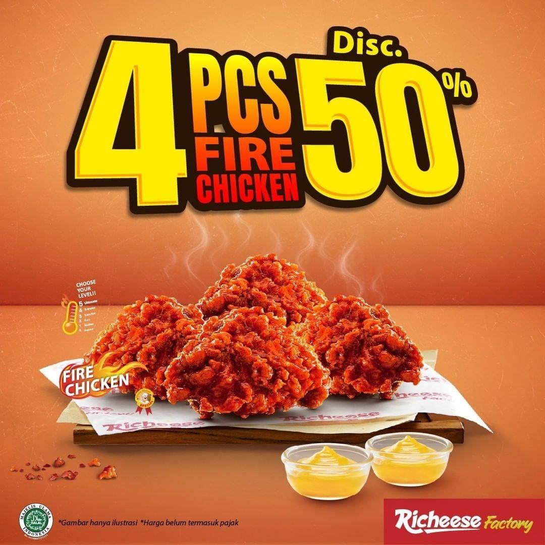 Diskon Richeese Factory 4 Pcs Fire Chicken Discount 50% Off