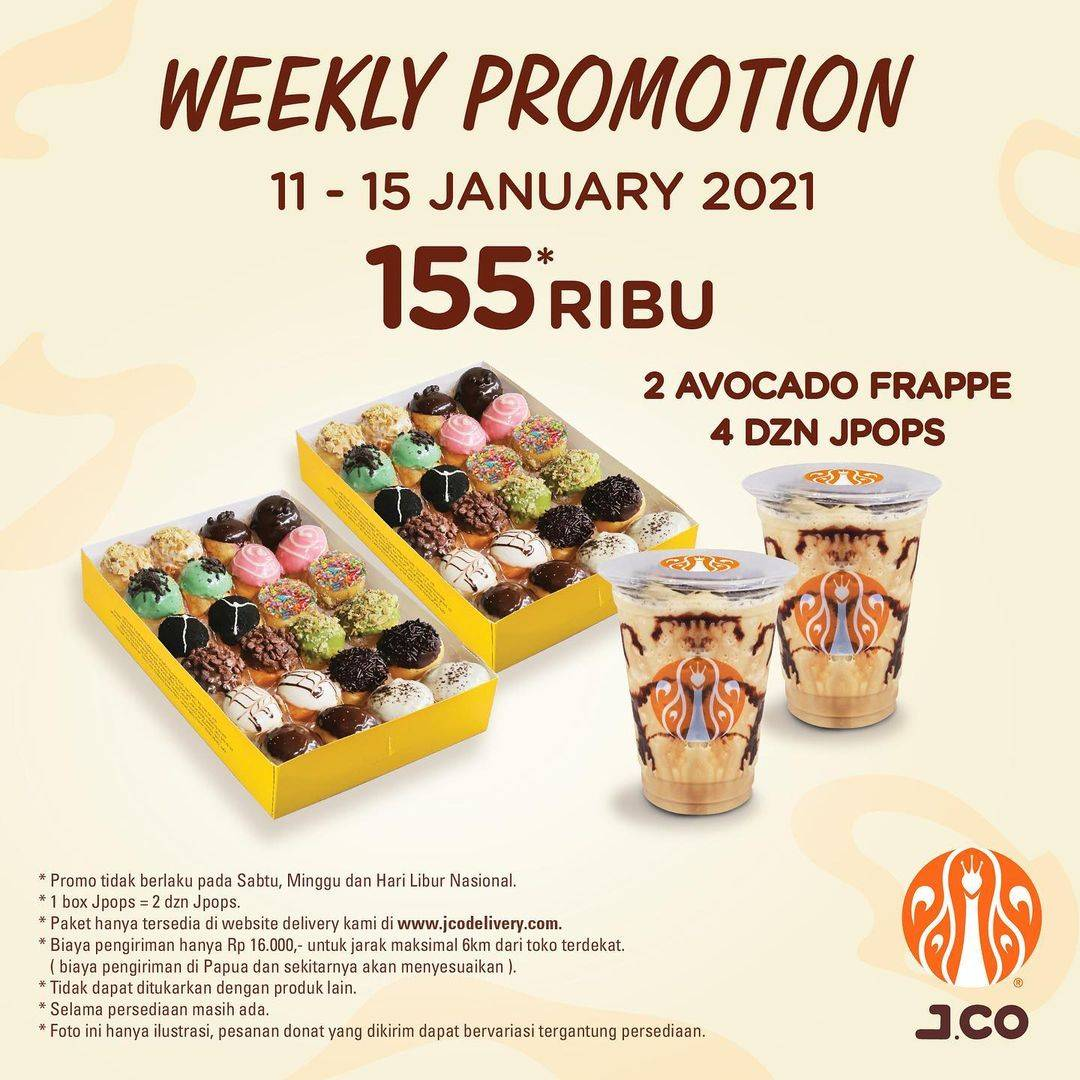 Diskon JCO Weekly Promotion 4 Dzn JPops + 2 Avocado Frappe Only For Rp. 155.000