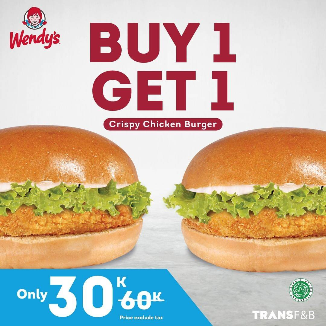 Diskon Wendys Buy 1 Get 1 Free Crispy Chicken Burger