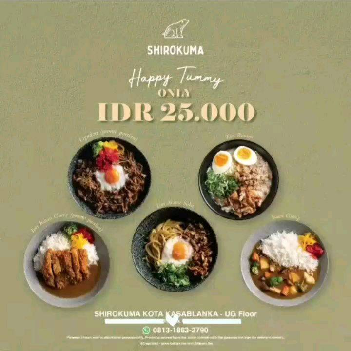 Diskon Shirokuma Promo Happy Tummy Menu Only For Rp. 25.000