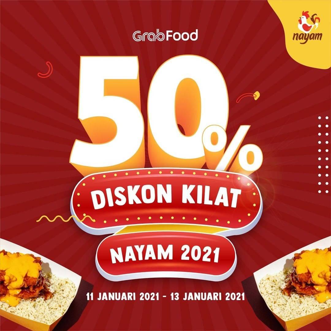 Diskon Nayam Diskon Kilat 50% Dengan GrabFood