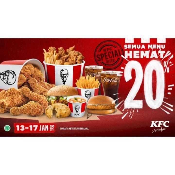 Promo diskon KFC Diskon 20% Untuk Semua Menu