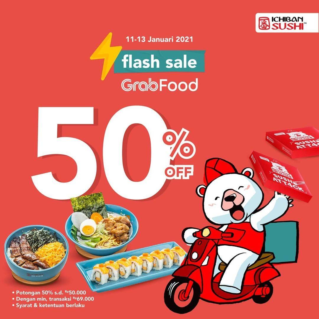 Diskon Ichiban Sushi GrabFood Flash Sale 50% Off