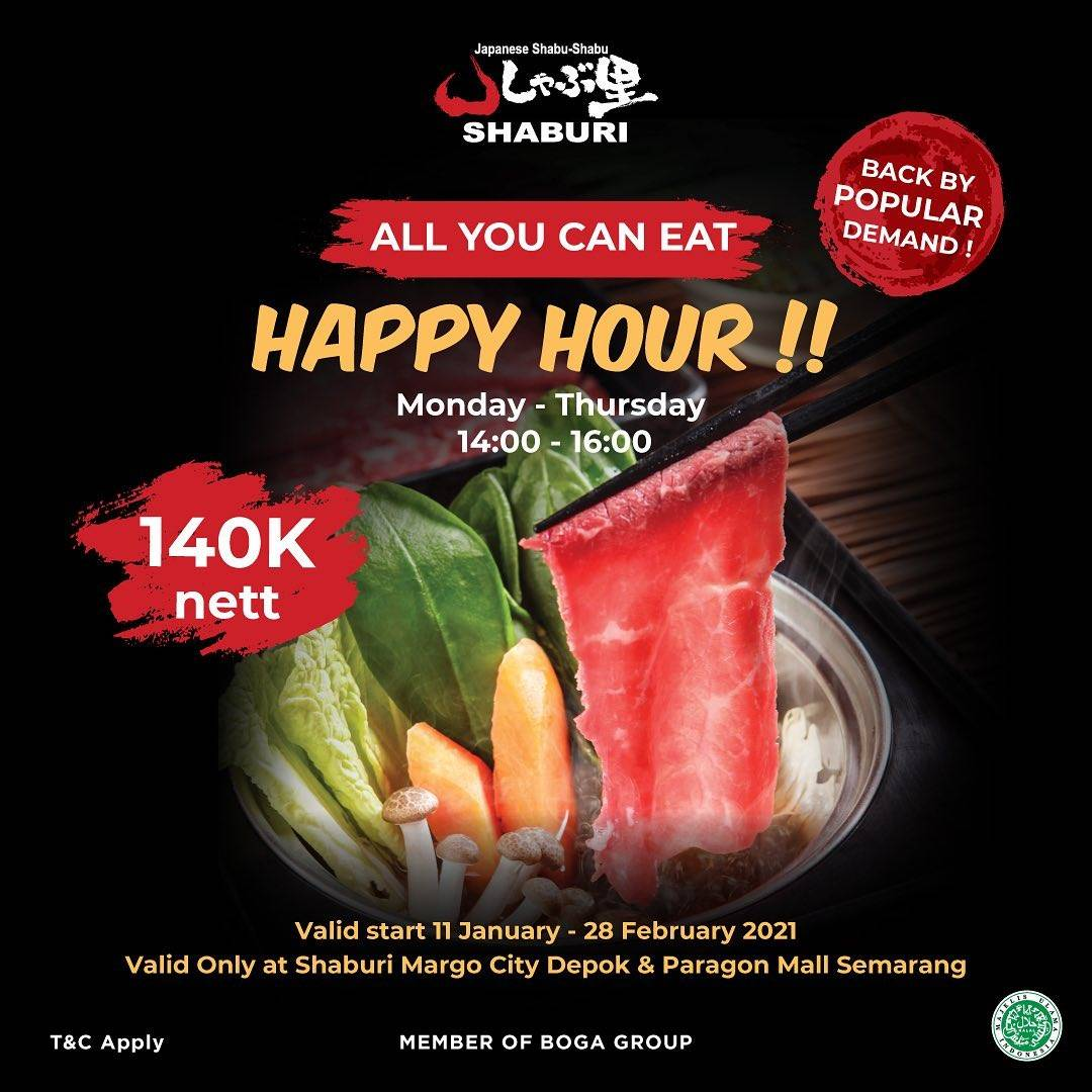 Diskon Shaburi Promo Happy Hour - All You Can Eat Hanya Rp. 140.000/nett