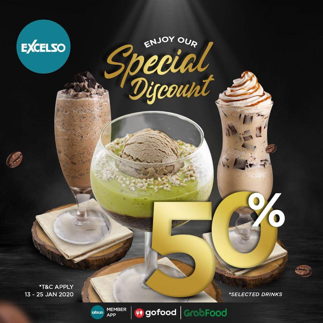 Diskon Excelso Discount 50% Off For Selected Drinks