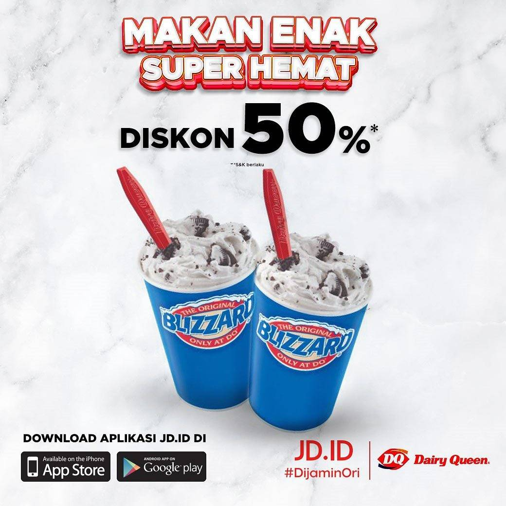 Promo diskon Dairy Queen Voucher Diskon 50% Di JD.ID