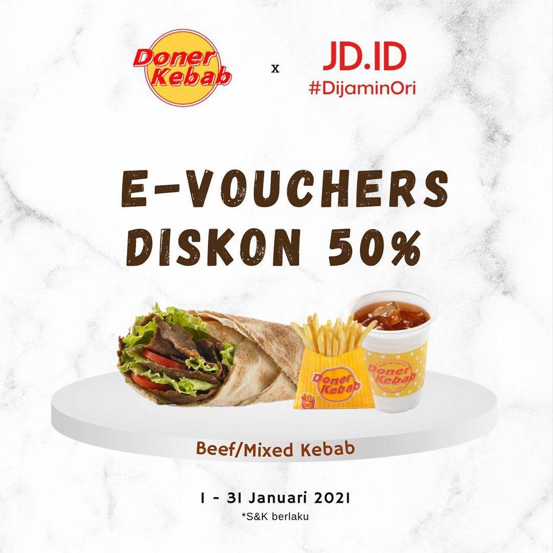 Diskon Doner Kebab E-Vouchers Diskon 50% Di JD.ID