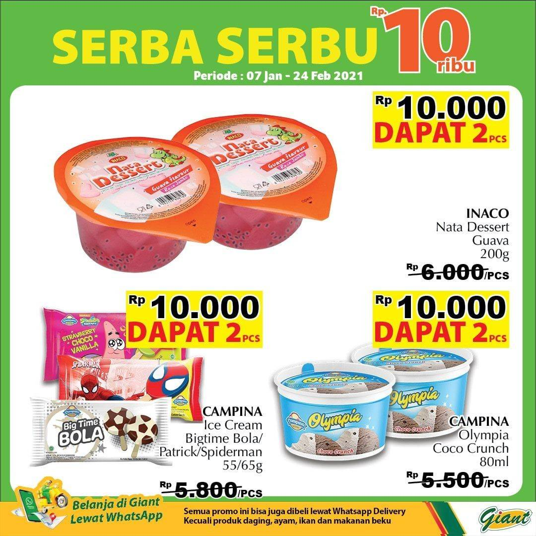 Promo diskon Katalog Promo Giant Serba Serbu 10.000!! Periode 7 Januari - 24 Februari 2021