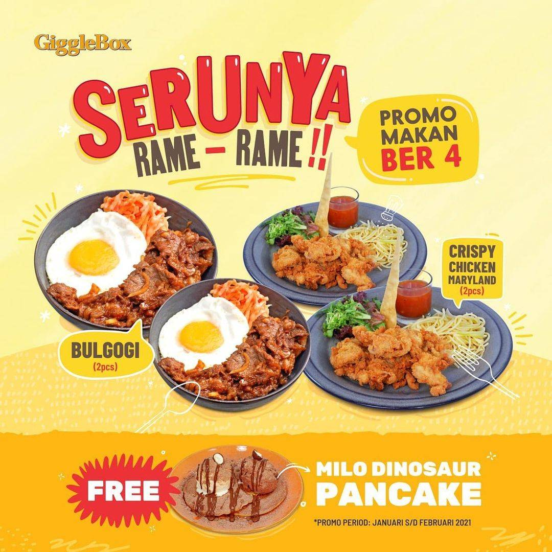 Diskon Giggle Box Promo Makan Ber4 + Free Milo Pancake