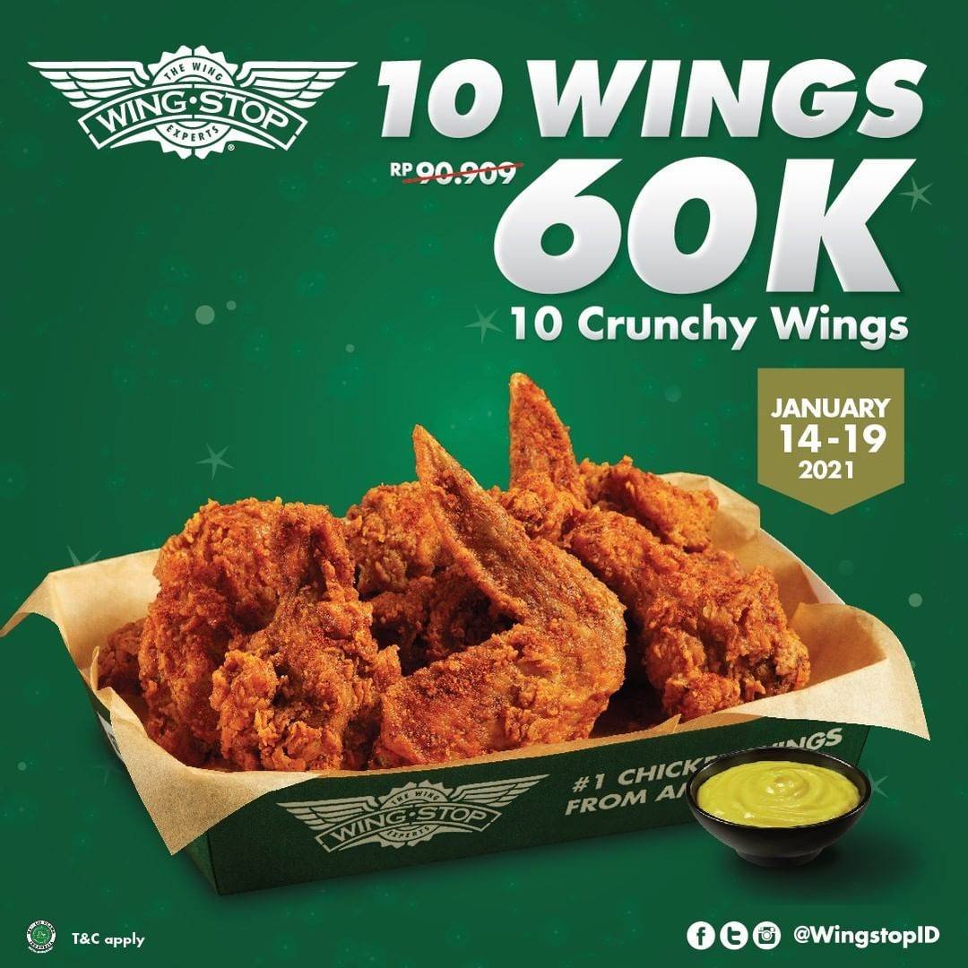 Diskon Wingstop Promo 10 Crunchy Wings Only For Rp. 60.000