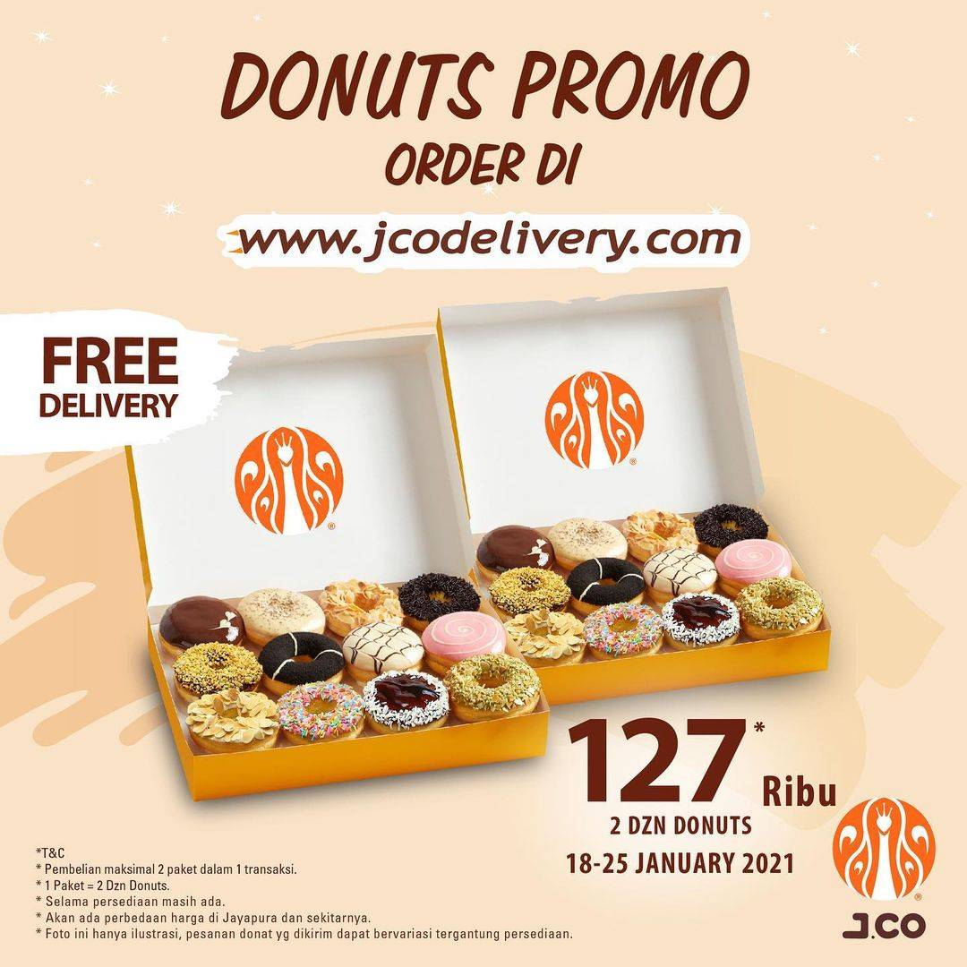 Diskon JCO Donuts Promo 2 Dzn Donuts Only For Rp. 127.000 + Free Delivery