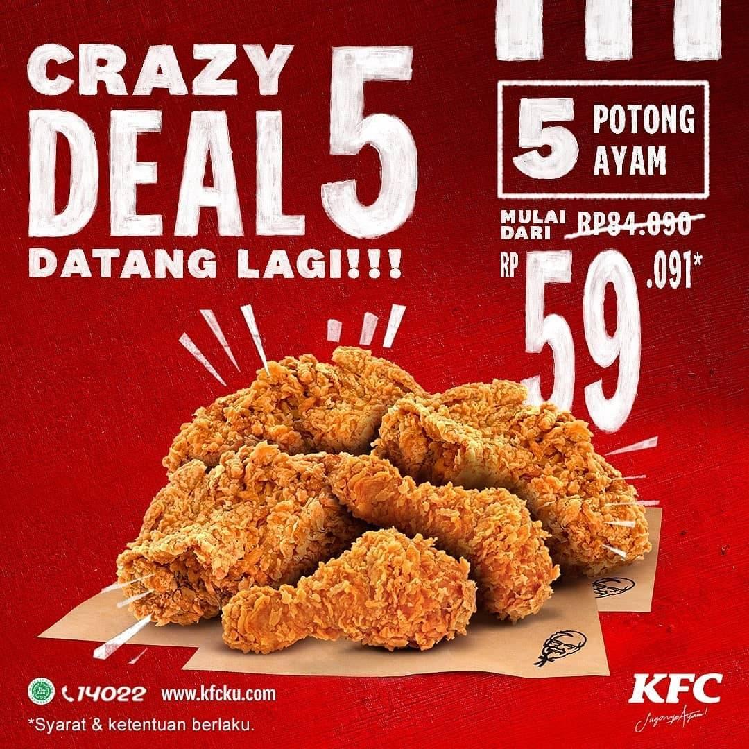 Diskon KFC Promo Crazy Deal 5 Potong Ayam Hanya Rp. 59.091