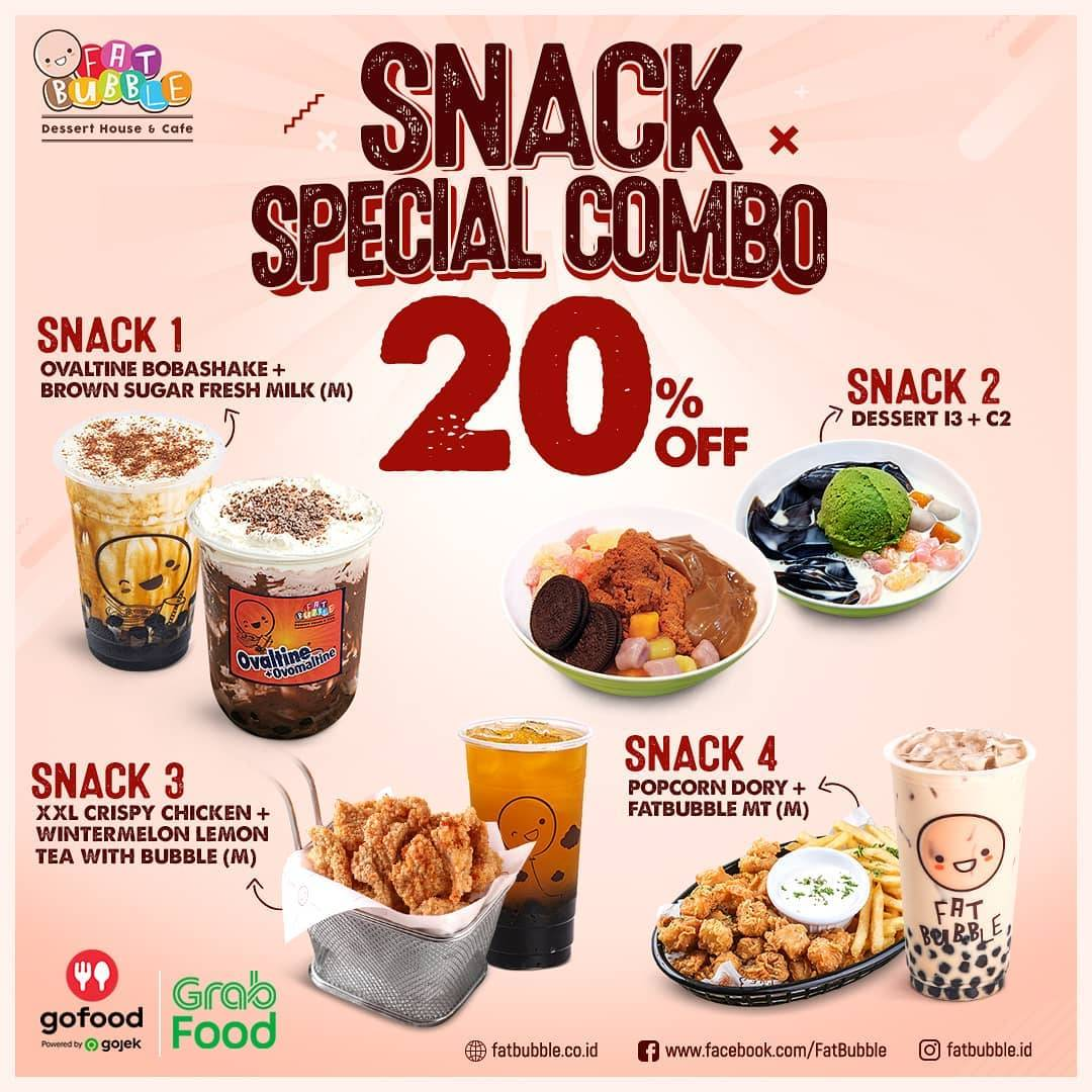 Diskon Fat Bubble Discount 20% Off On Snack Special Combo