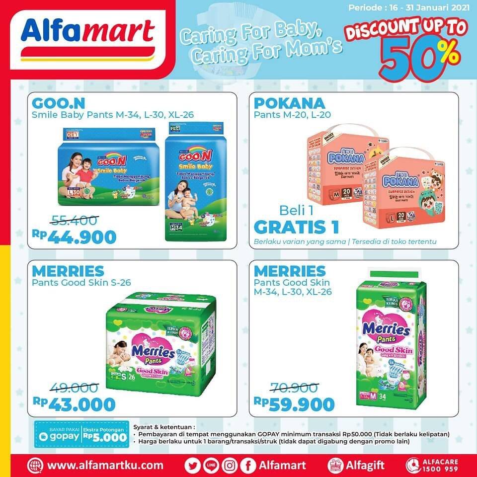 Diskon Katalog Promo Alfamart Popok Bayi diskon 50% Periode 16 - 31 Januari 2021