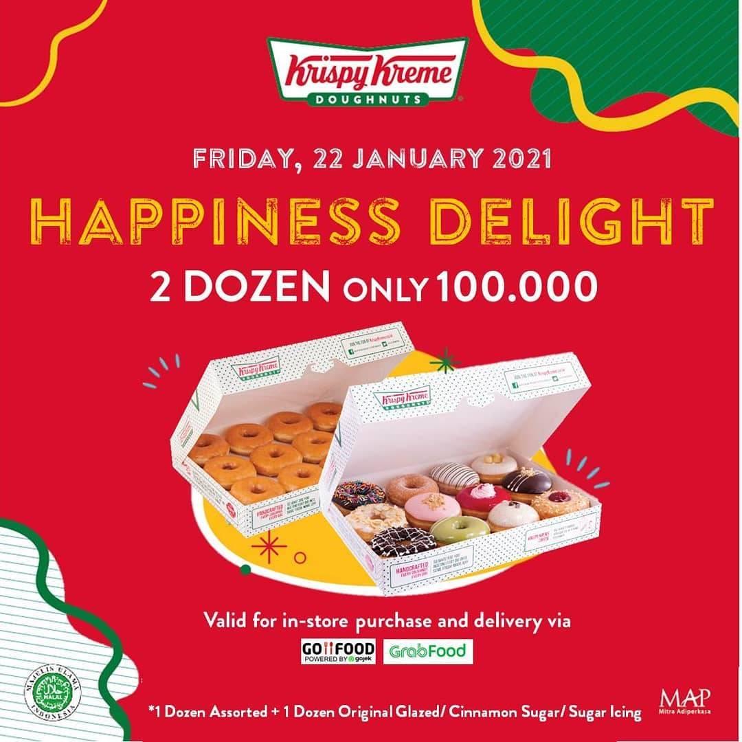 Diskon Krispy Kreme Promo Happiness Delight 2 Dzn Doughnuts Only For Rp. 100.000