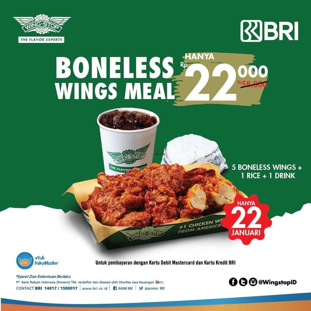 Diskon Wingstop Promo Boneless Wings Meal Hanya Rp. 22.000 Dengan Kartu Kredit/ Debit BRI