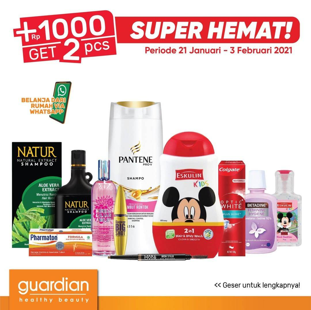 Diskon Katalog Promo Guardian Super Hemat +1000 Dapat 2 Periode 21 Januari - 3 Februari 2021