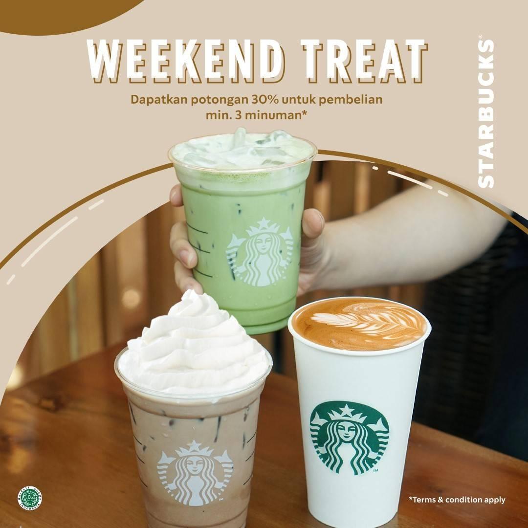 Diskon Starbucks Coffee Weekend Treat Diskon 30% Untuk Pembelian 3 Minuman